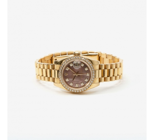AAGAn 18 carat gold and diamond Rolex Oyster Perpetual Datejust lady's wristwatch