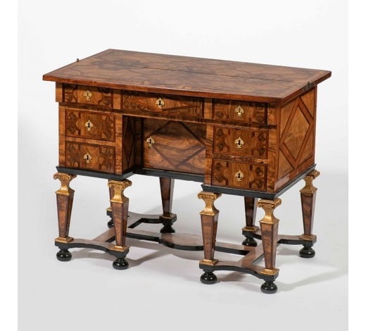 AAGA fine Louis XIV olive and Rio rosewood marquetry veneered and walnut Mazarin desk