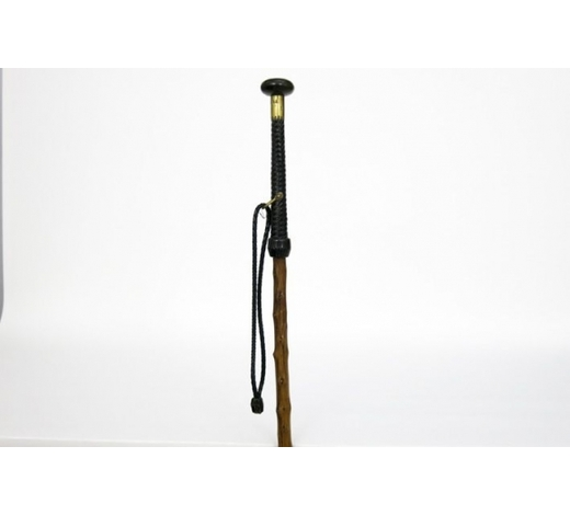 DVCantique Basque walking stick in wood and leather with a top concealing a skewer to stab animals