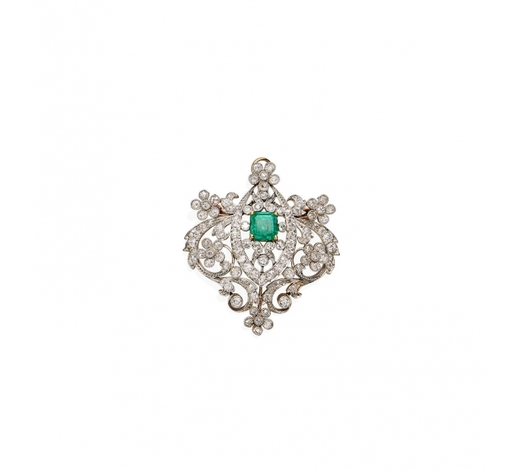 Bonhams SydneyA Belle Epoque emerald and diamond pendant