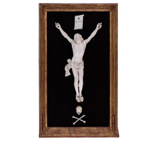 Carlo Bonte AuctionsAn 18thC ivory Southern Netherlands corpus Christi, complete with the Memento Mori and the 'INRI'-plaque, 20thC framing, 42 x 71 cm Added expertise report according to CITES legislation. For European Community use only.