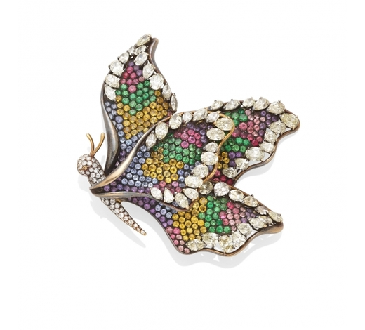 Bonhams USAA diamond and colored stone butterfly brooch, French