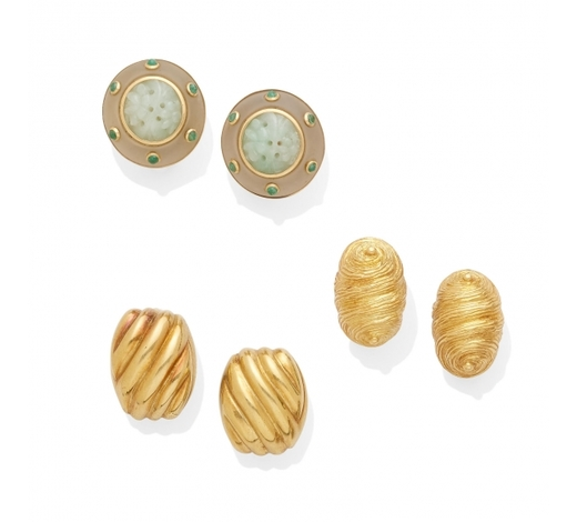 Bonhams USAtwo pairs of gold earclips and a pair of jade ear clips