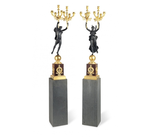 Bonhams England【TP】A large pair of French 19th century gilt and patinated bronze eight light candelabra