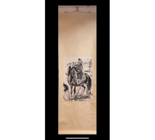 Affinity AntiqueChinese Ink&Color Scroll Painting, Huang Zhou