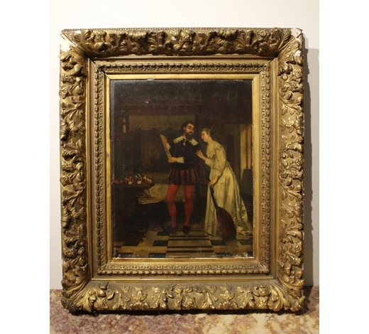 Affinity AntiqueOil on Board, 19th.C Couple Read A Letter