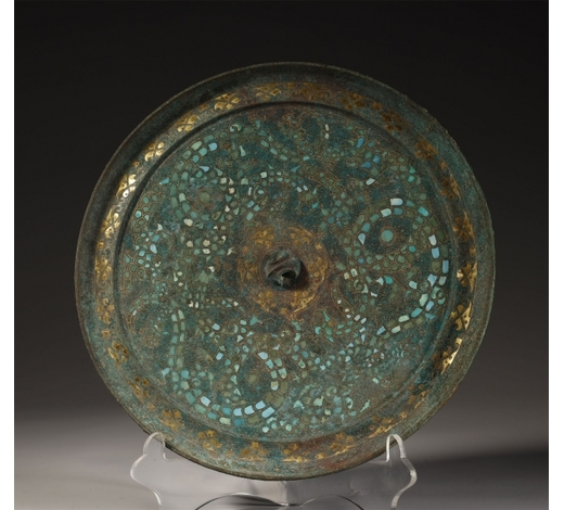 Sweden Art AuctionBronze Mirror Inlaid with Gold, Silver and Turquoise