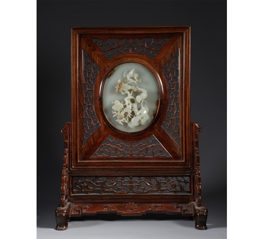 Sweden Art AuctionHetian Jade with Hardwood Frame Table Screen
