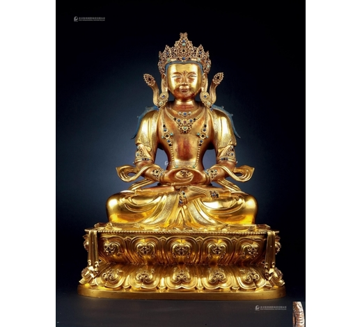 北京保利清康熙 铜鎏金无量寿佛像