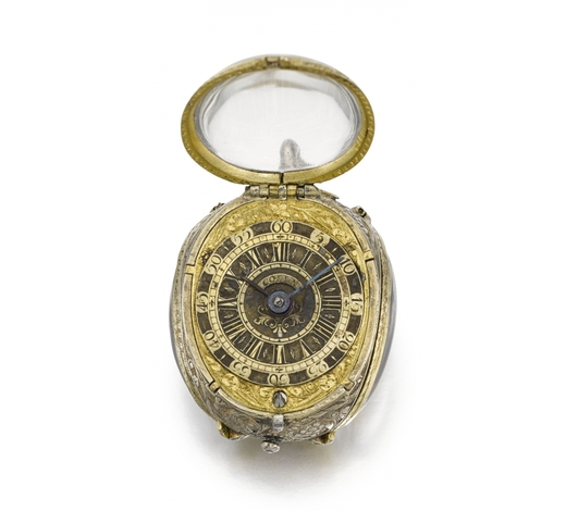 Sotheby's EnglandGerman A SILVER-GILT, GILT-METAL AND ROCK CRYSTAL WATCH IN THE FORM OF A TULIP BUDWITH LATER CUSTOM-MADE VERGE MOVEMENT CASE CIRCA 1630, MOVEMENT BY A. ANTO. LASACHER, COLLN, CIRCA 1730